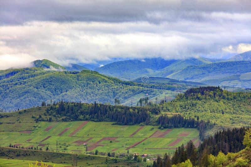 Im Tal auf dem Bergabhang dehnte rechteckige Ackerlandpläne gegen den Hintergrund der malerischen Landschaft aus stockfoto