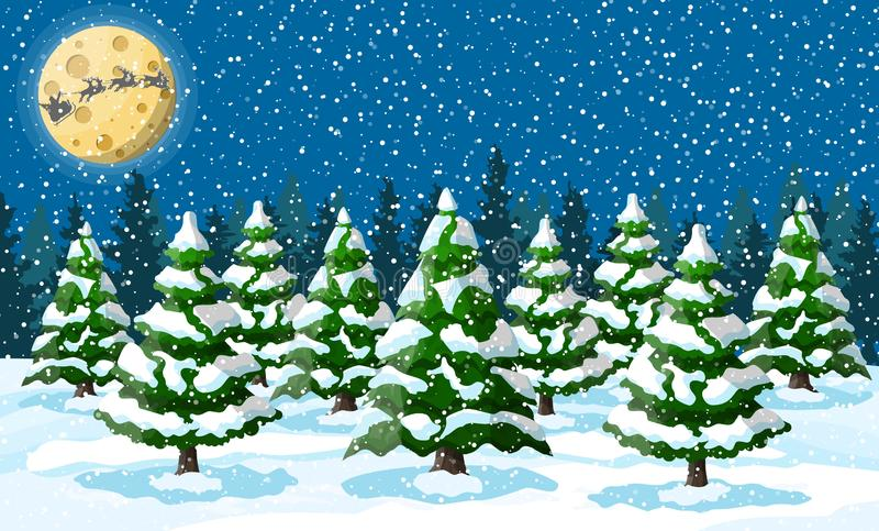 Im untereren Teil der snow-covered Hügel mit Schattenbildern der gezierten Bäume stock abbildung