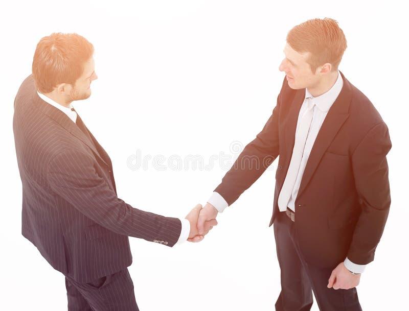 Im vollen Wachstum Händedruck, Teilhaber, lokalisiert auf weißem Hintergrund lizenzfreies stockfoto