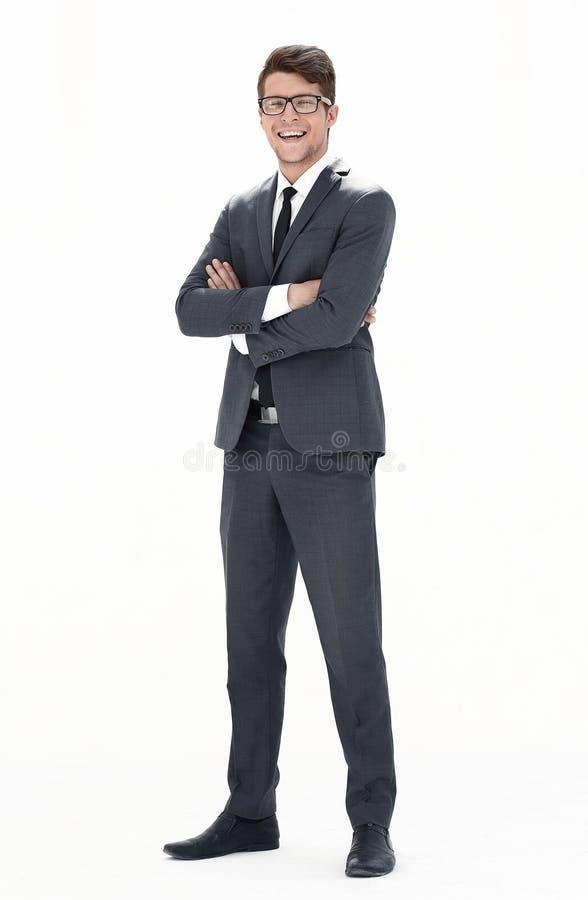 Im vollen Wachstum Junger Geschäftsmann mit Gläsern lizenzfreie stockbilder