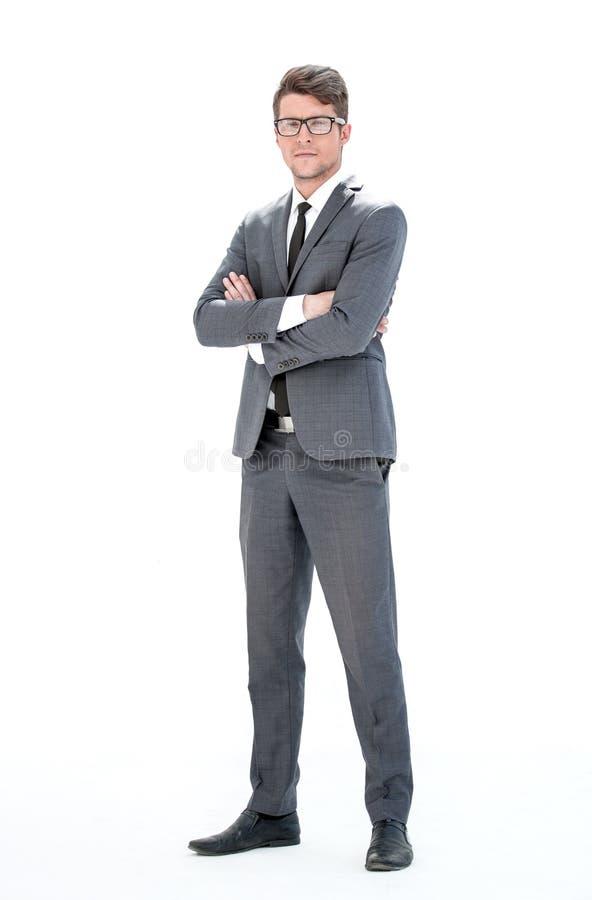 Im vollen Wachstum Junger Geschäftsmann mit Gläsern stockfotos