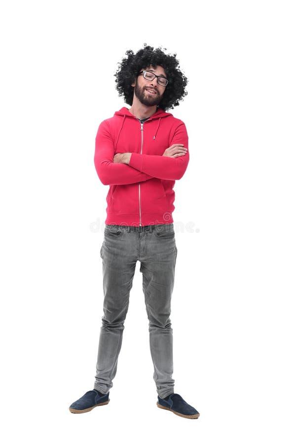Im vollen Wachstum moderner Modemann in der roten Jacke stockfotografie