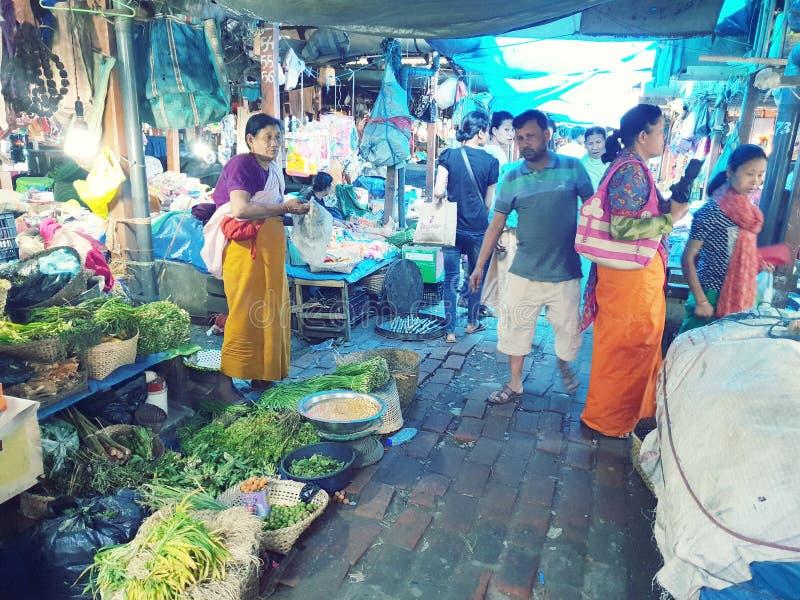 IMA市场在安菲曼尼普尔邦印度 免版税库存照片