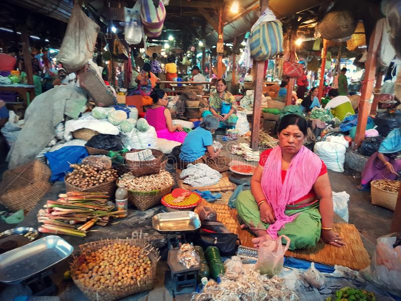 IMA market at imphal manipur india. Old ladies selling in a small market to make a living stock photos