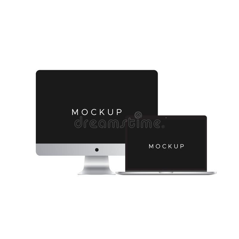 IMac en MAC-boekmodel op witte achtergrond wordt geïsoleerd die vector illustratie