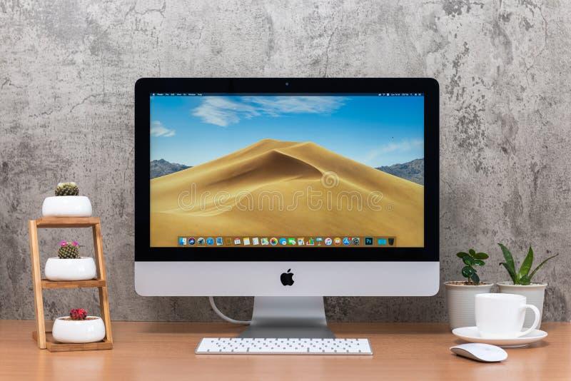 IMaccomputer, toetsenbord, magische muis, installatievaas, cactuspotten en koffiekop royalty-vrije stock foto's