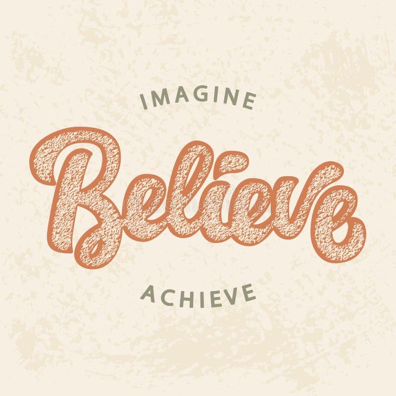 Imagínese, crea, alcance stock de ilustración
