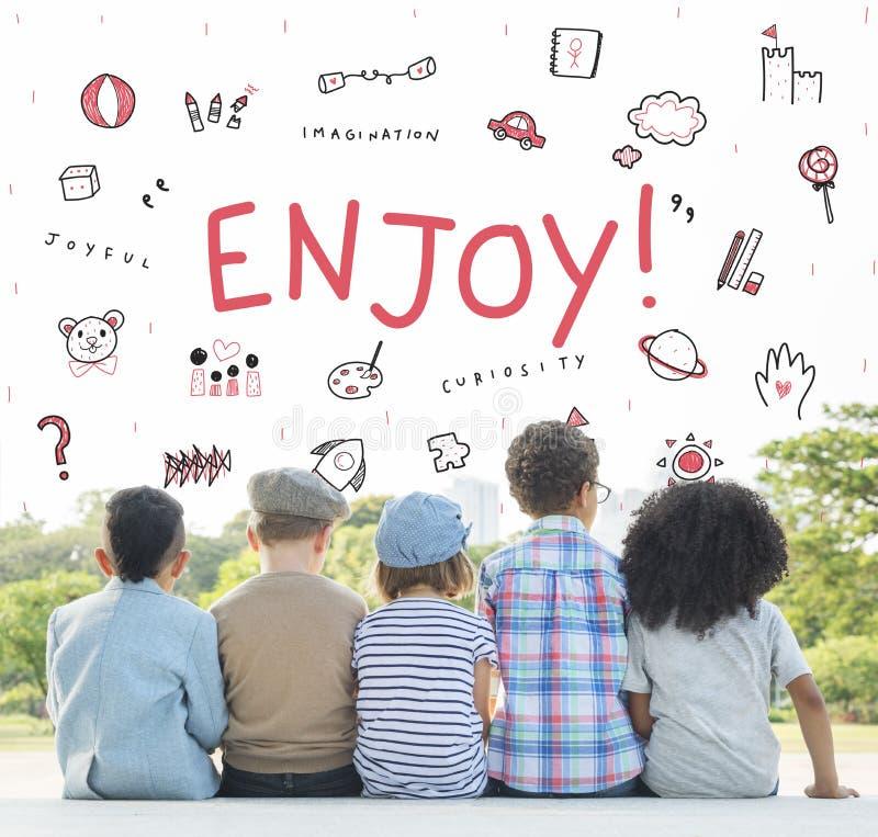 Imagínese el concepto del icono de la educación de la libertad de los niños fotografía de archivo libre de regalías