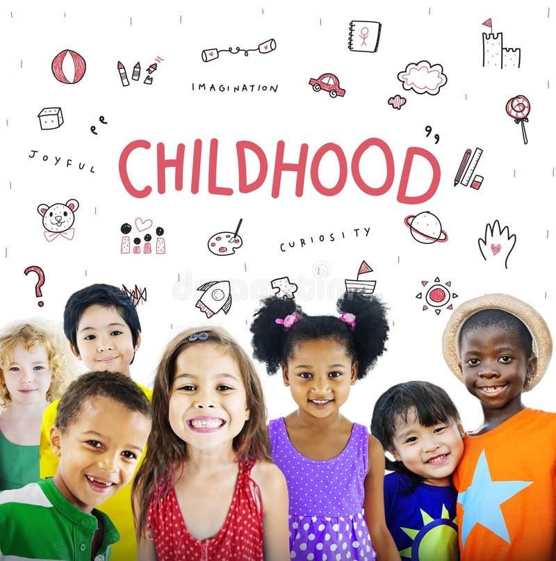Imagínese el concepto del icono de la educación de la libertad de los niños fotografía de archivo