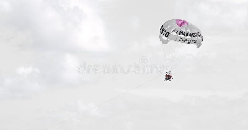 Imagínese el paracaídas de la publicidad del disco en Punta Cana, República Dominicana imagen de archivo