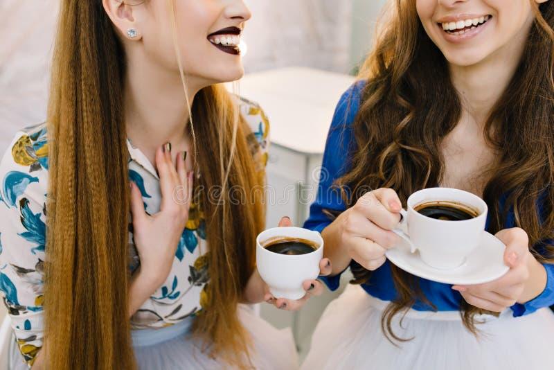 Image élégante de deux femmes à la mode appréciant le café dans le salon de coiffeur Amis, préparant pour faire la fête, ayant l' image libre de droits