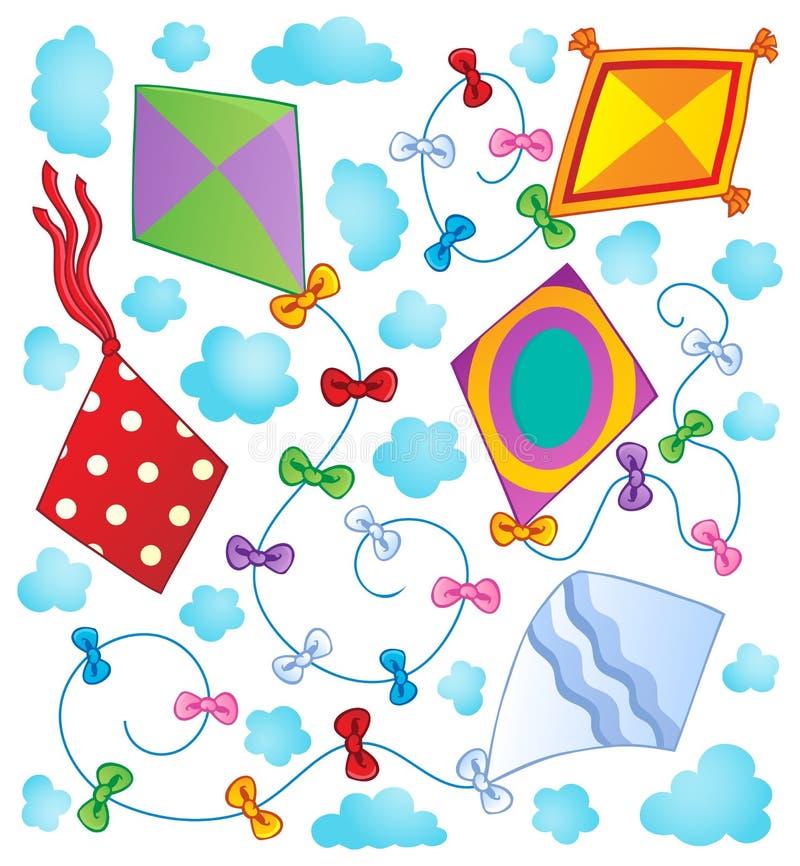 Image 1 de thème de cerfs-volants illustration stock