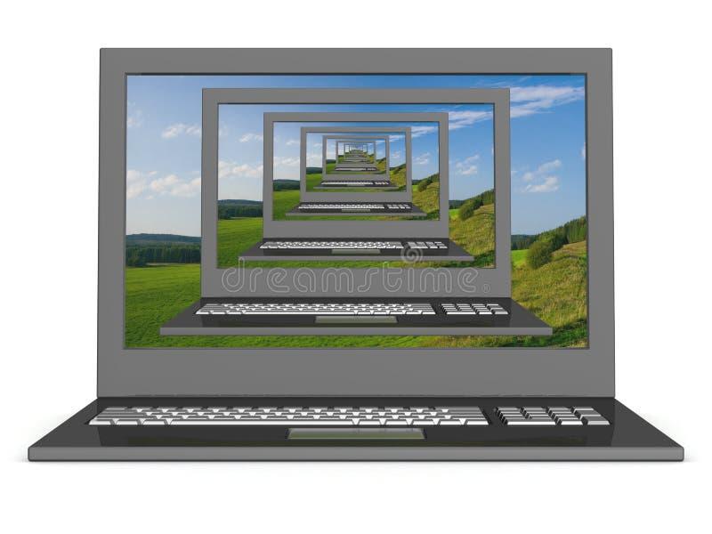 Image 3D récursive des ordinateurs portatifs. illustration libre de droits