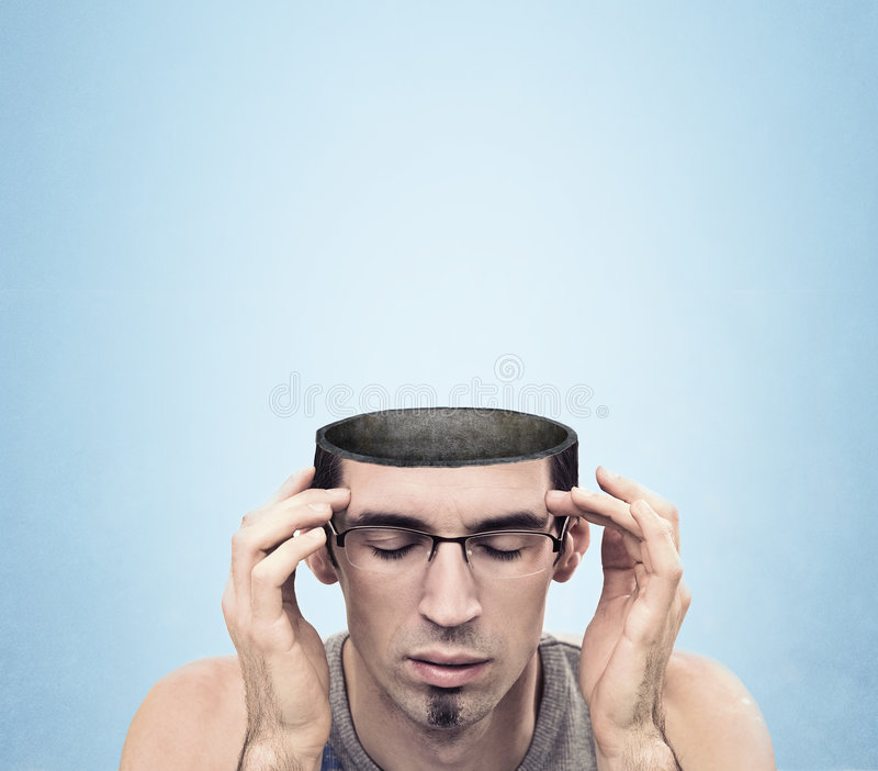 Image. Conceptual image of a open minded man , lots of copyspace