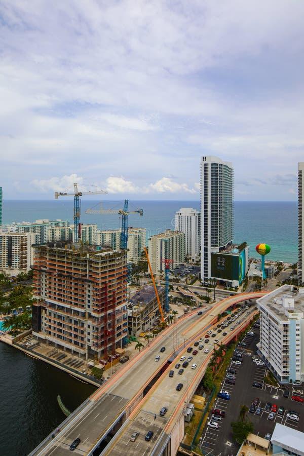 Image aérienne de plage la Floride de Hallandale image libre de droits