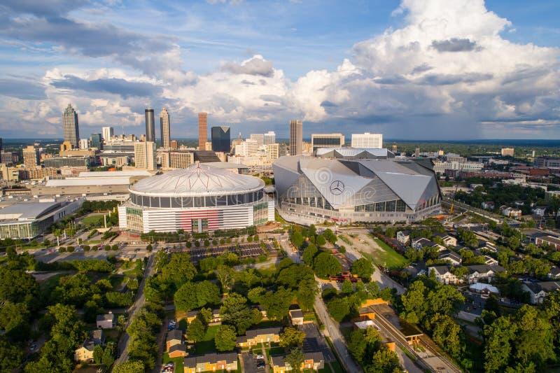Image aérienne Mercedes Benz Arena Downtown Atlanta images libres de droits