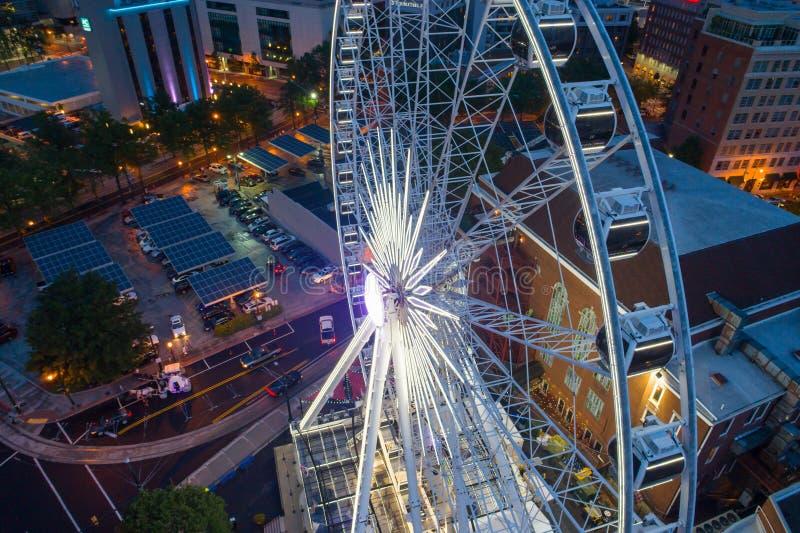 Image aérienne Skyview Atlanta la Géorgie la nuit photo stock