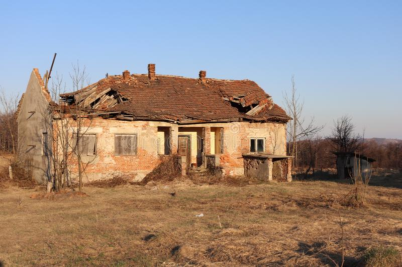 Abandoned and ruined house. This is image of Abandoned and ruined house in mountain  in southeastern Europe. this house is from 19 century stock photos
