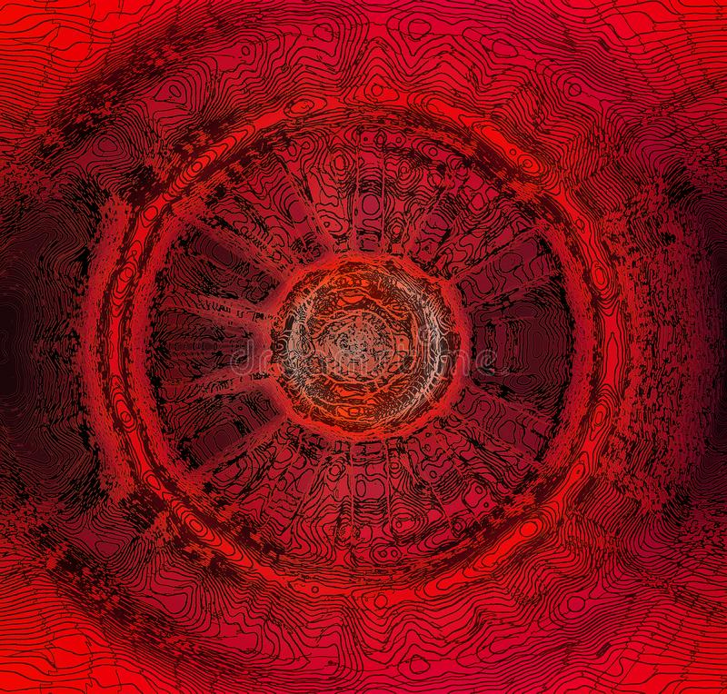 RADIAL PATTERN WITH RED AND BLACK LINE WORK. Image of an abstract black and red radial design with intricate line work stock photography