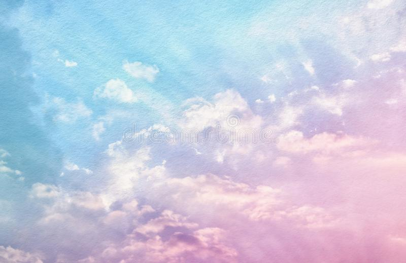 Image of abstract pastel clouds and sky with texture. stock photo