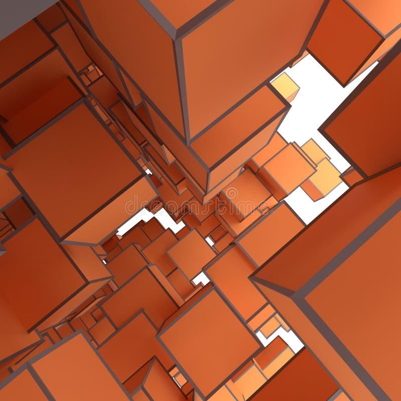 Image abstraite de fond de cubes dans l'orange modifiée la tonalité illustration de vecteur