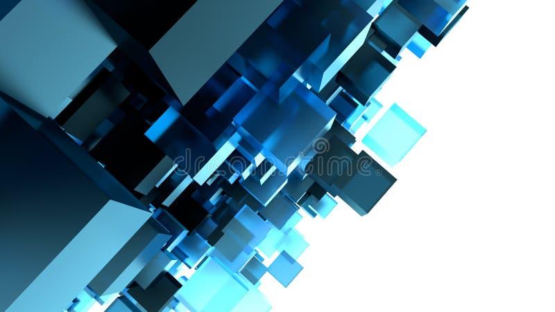 Image abstraite de fond de cubes dans le bleu modifié la tonalité illustration stock