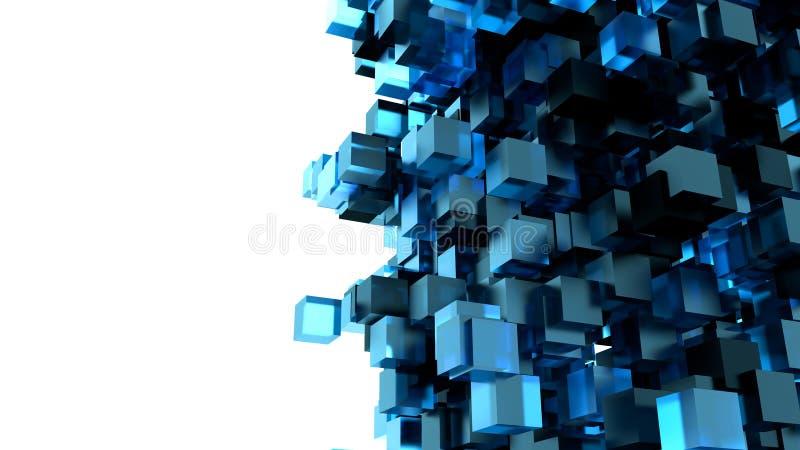 Image abstraite de fond de cubes dans le bleu modifié la tonalité illustration de vecteur
