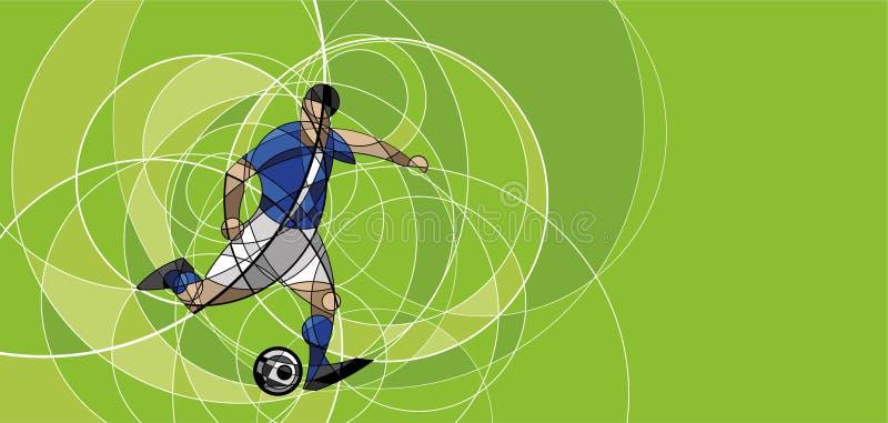 Image abstraite de footballeur avec la boule illustration stock