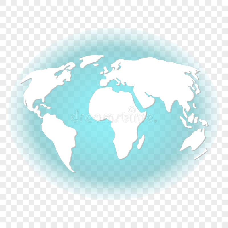 Image abstraite de la terre avec les continents blancs avec le contre-jour transparent de la couleur de turquoise du fond Vecteur illustration stock