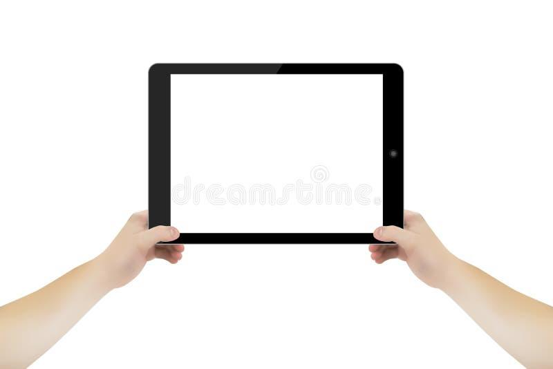 Image abstraite de vecteur de concept de main avec le comprimé Pour le Web et les applications mobiles d'isolement sur le fond Ar illustration stock
