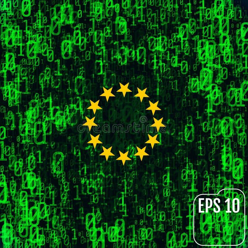 Image abstraite du drapeau de l'Union européenne contre le CCB illustration de vecteur