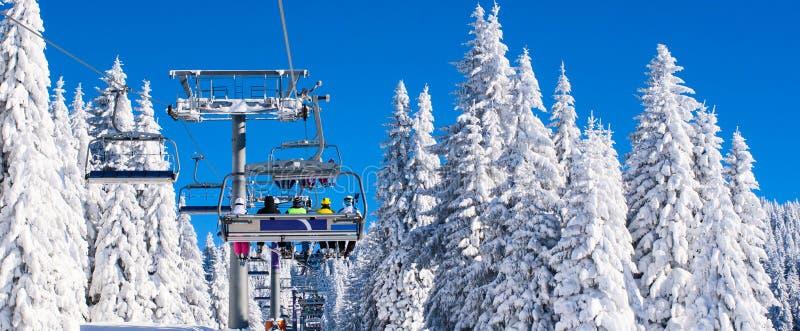 Image active vibrante d'hiver de personnes avec des skieurs sur le remonte-pente, pins de neige, ciel bleu photos stock
