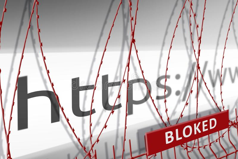 Image of the address bar of the website is blocking the fence with barbed wire - blocked Internet concept.  stock illustration