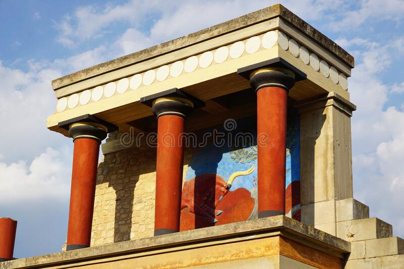 Knossos Palace, Crete Greece - 20 august 2017: Ancient ruins of the palace where king Minos lived and ruled royalty free stock image