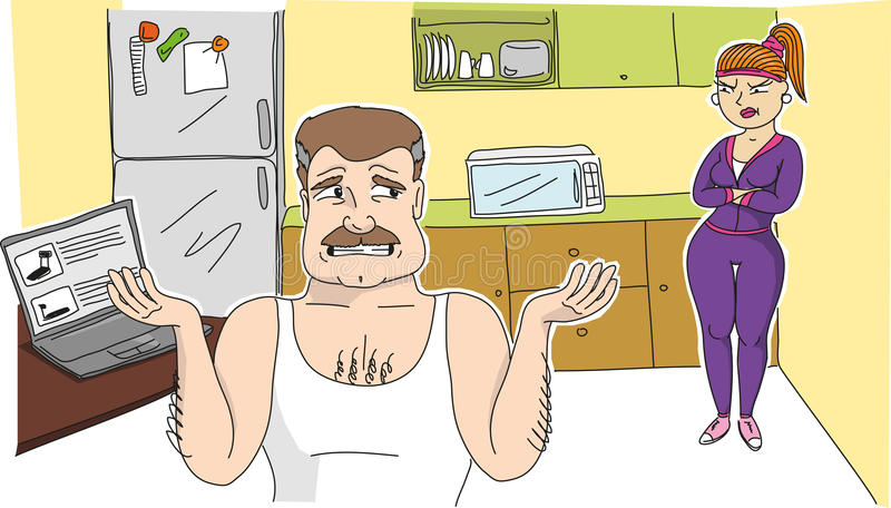 An image of a angry woman and her husband stock image