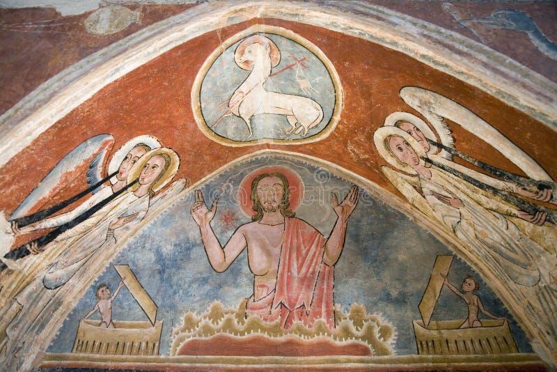 Image antique de fresque de Jésus en position de prière de Pâques de méditation au musée à Solsona, Catalogne, Espagne, ½ i Comar photo stock