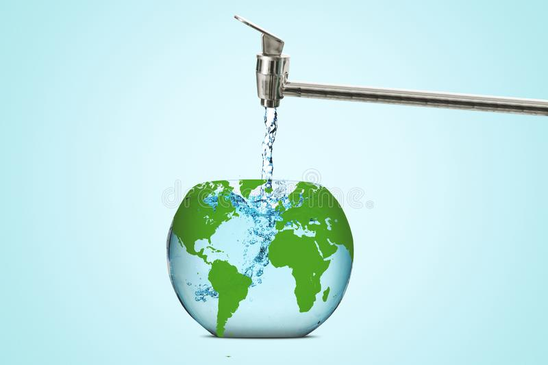 Earth globe filled with water from a faucet. Image of aquarium shaped an earth globe and filled with water from a faucet vector illustration