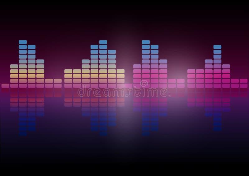 Image audio de vecteur d'abrégé sur technologie d'égaliseur de Digital de fond de technologie de forme d'onde de couleur multi illustration de vecteur