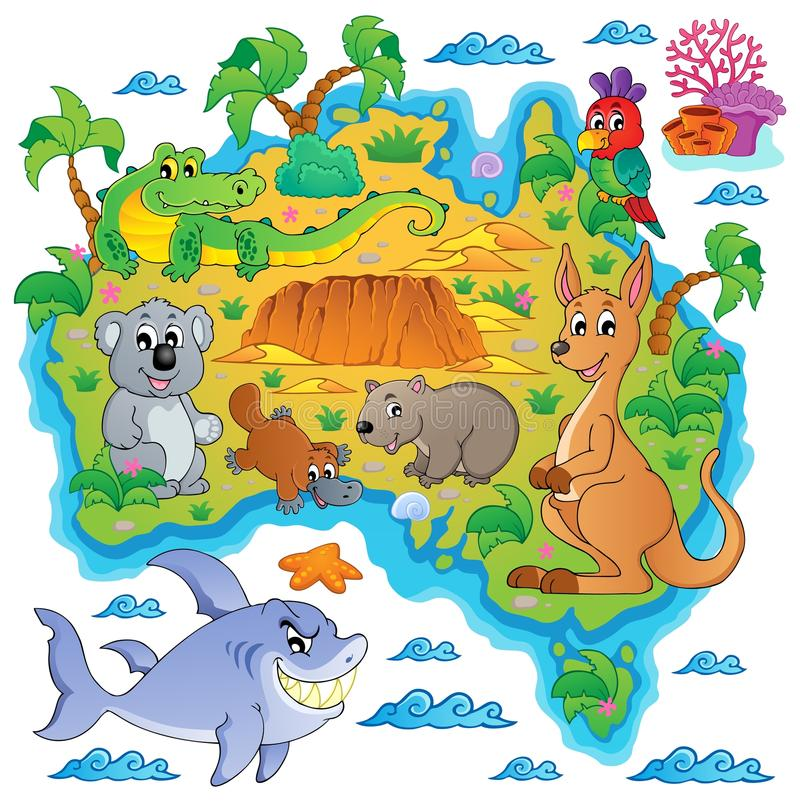 Image australienne 3 de thème de carte illustration libre de droits