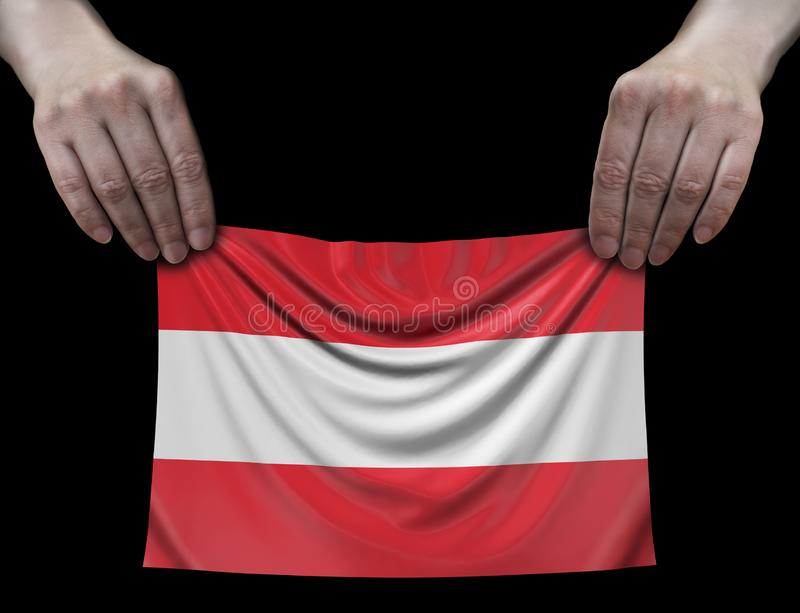 Austrian flag in hands. Image of Austrian flag in hands stock illustration