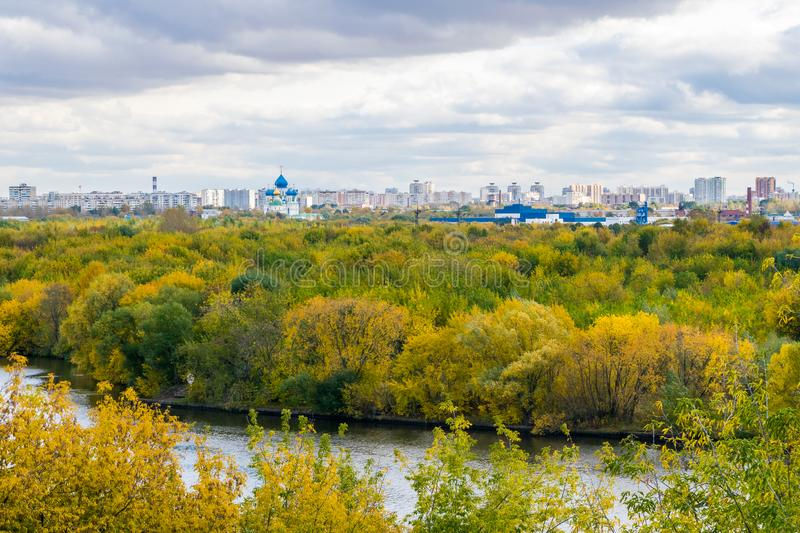 Image of autumn Moscow from the observation desk in Kolomenskoye stock photography