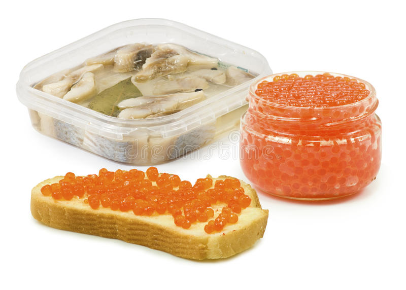 Image bank with caviar, caviar with bread and canned fish stock photography