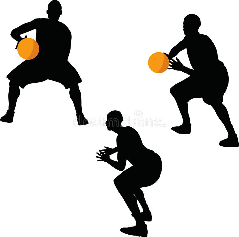 image - basketball player silhouette in hold pose, isolated on white background vector illustration