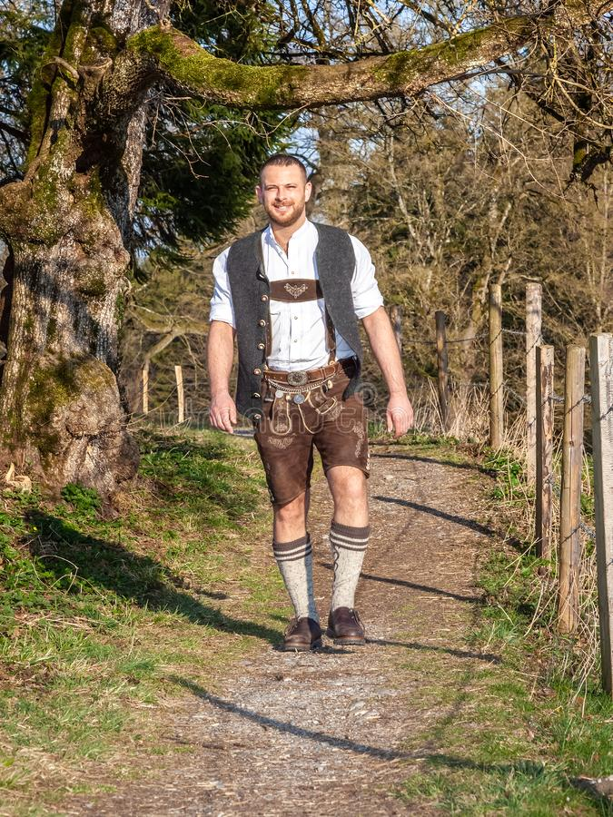 Bavarian traditional man outdoors royalty free stock photo