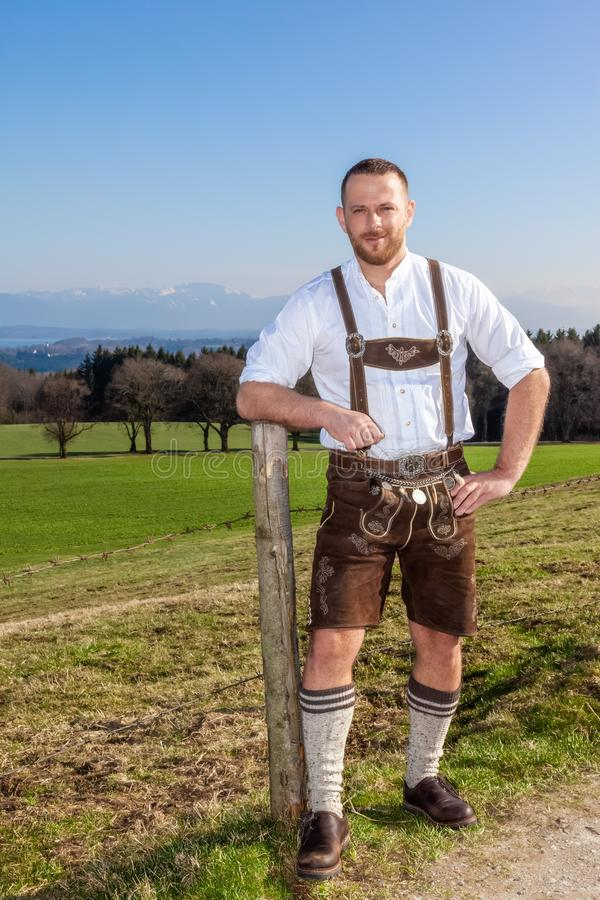 Bavarian traditional man outdoors stock images