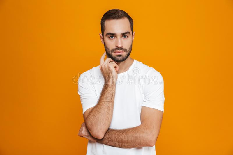 Image of bearded man 30s in t-shirt looking at camera strictly while standing, isolated over yellow background stock image