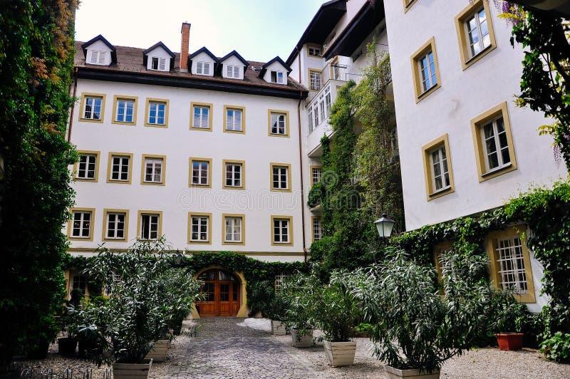 Beautiful heritage buildings in Old Bratislava, Slovakia. stock photo