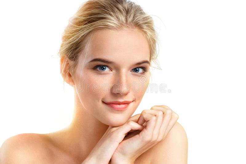 Image of beautiful smiling blonde girl on white background. royalty free stock photos