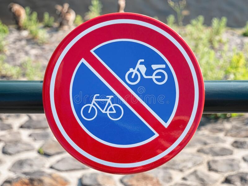 Bicycle prohibited sign, traffic signal detail, sign in the city of Amsterdam stock photography