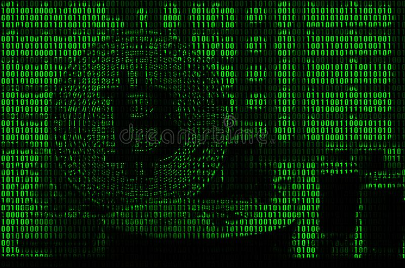 Image of the binary code from bright green digits, through which the image of the physical bitcoin.  stock image
